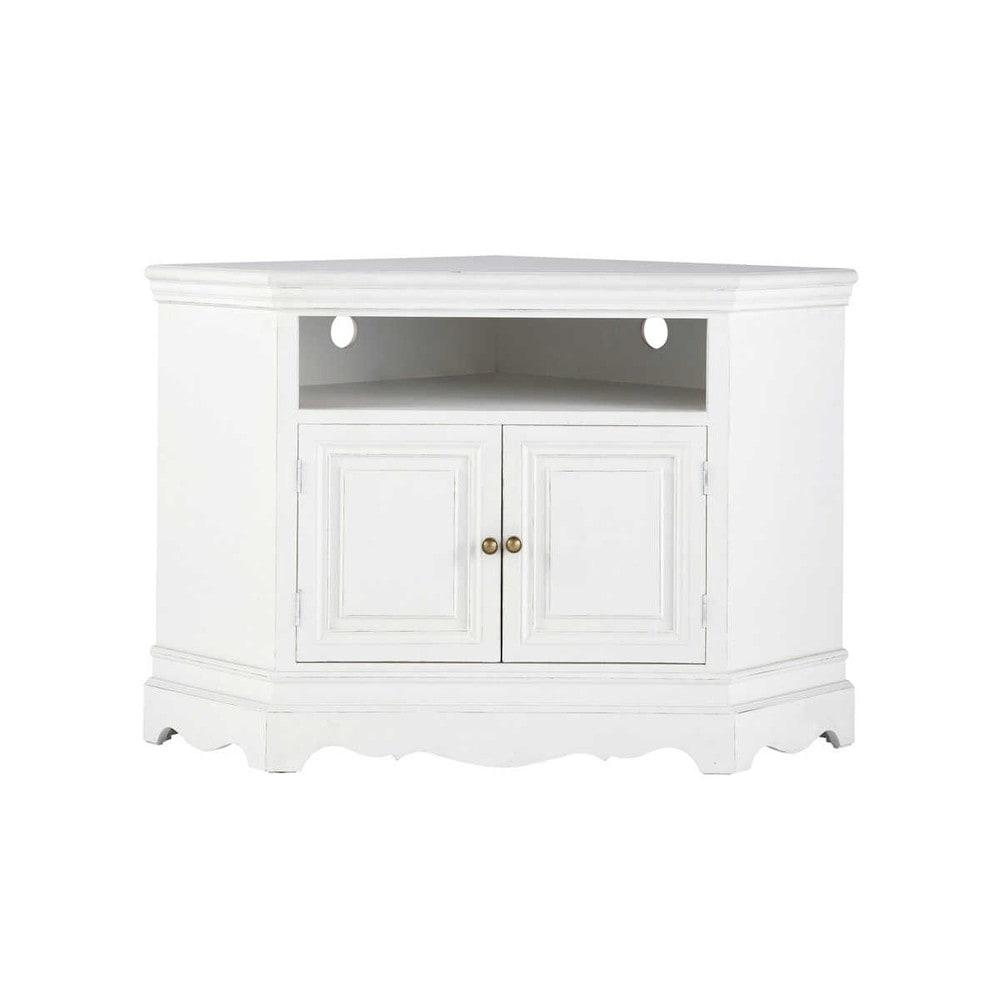 Mueble de TV blanco esquinero de madera de paulonia An 105 cm Josphine  Maisons du Monde