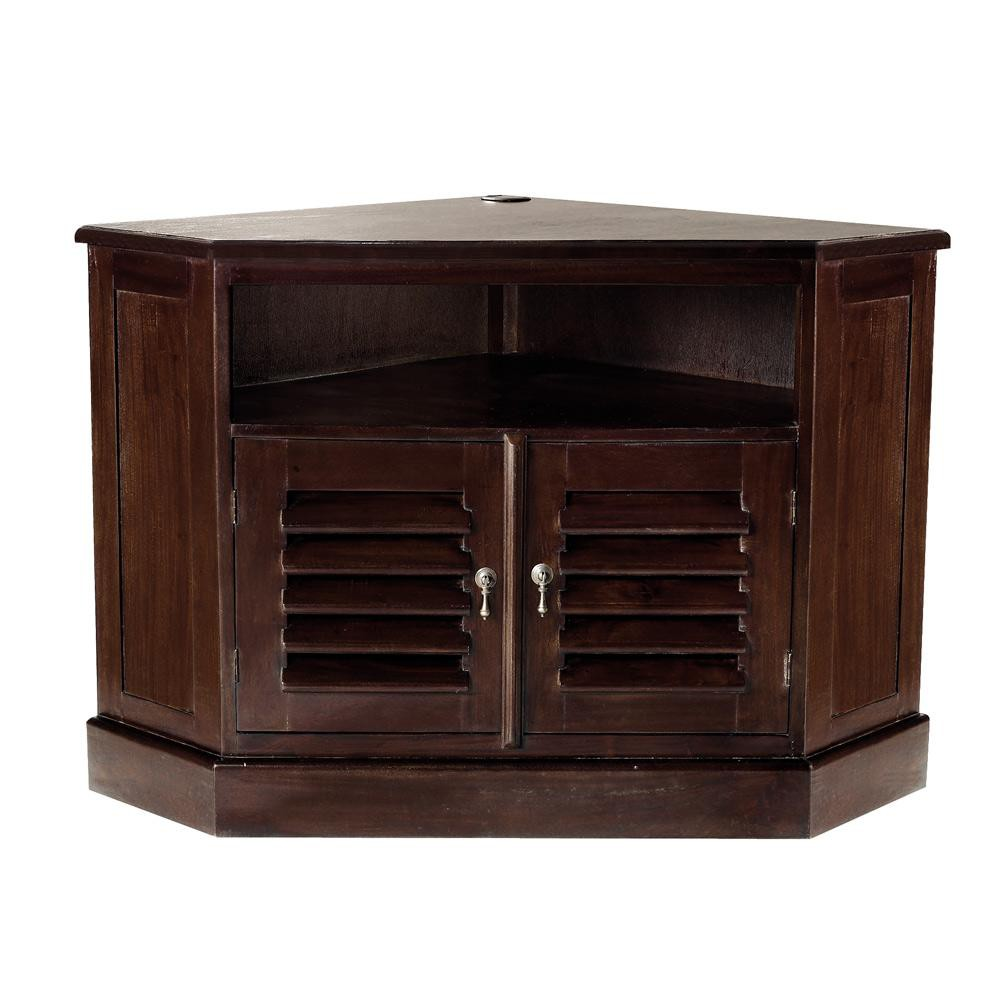 Mueble de TV esquinero de madera maciza de palo rosa An 74 cm Planteur  Maisons du Monde
