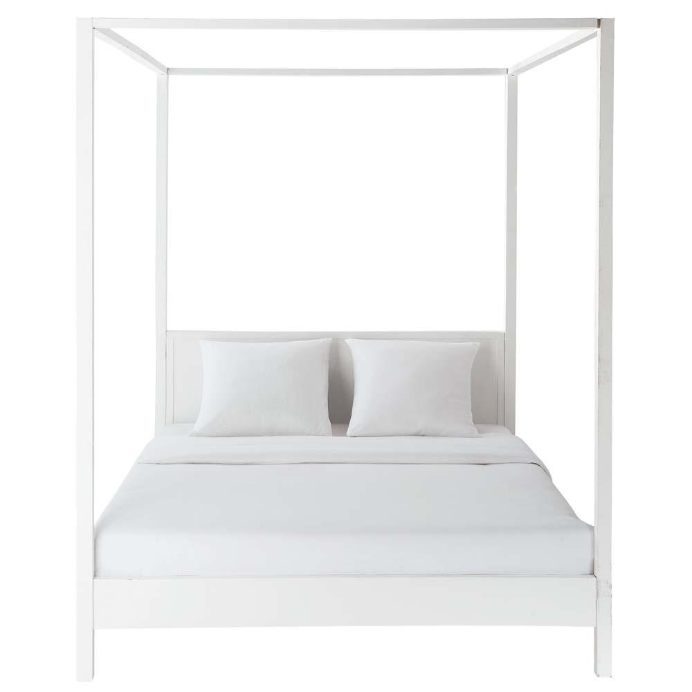 Off White Wooden Four Poster Bed 160 X 200 Cm Celeste