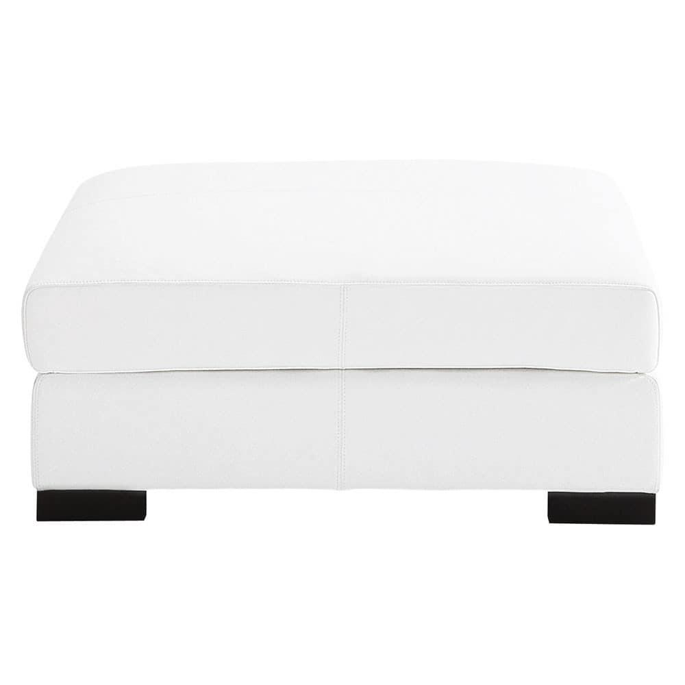 Pouf per divano bianco modulabile in cuoio Terence  Maisons du Monde