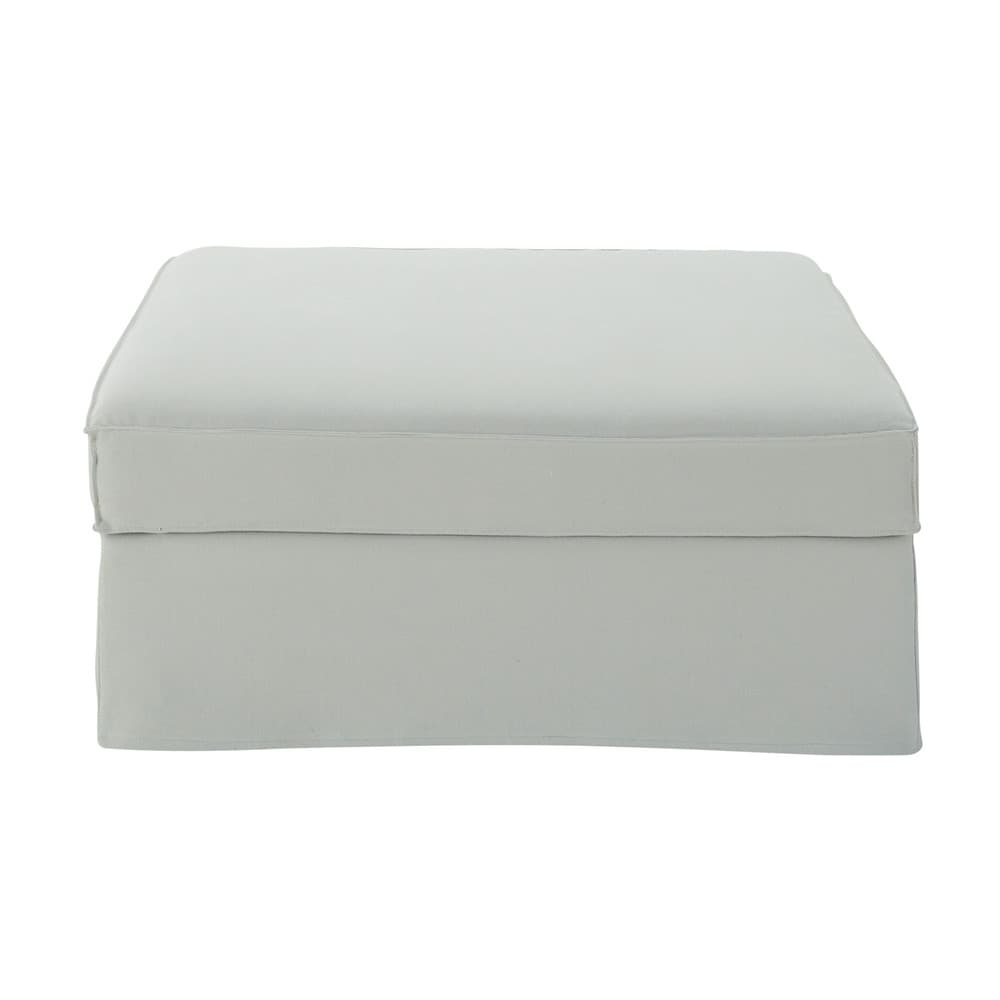 Pouf per divano grigio chiaro in cotone e lino Enzo