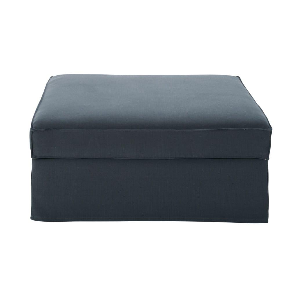 Pouf per divano grigio in cotone e lino Enzo  Maisons du Monde