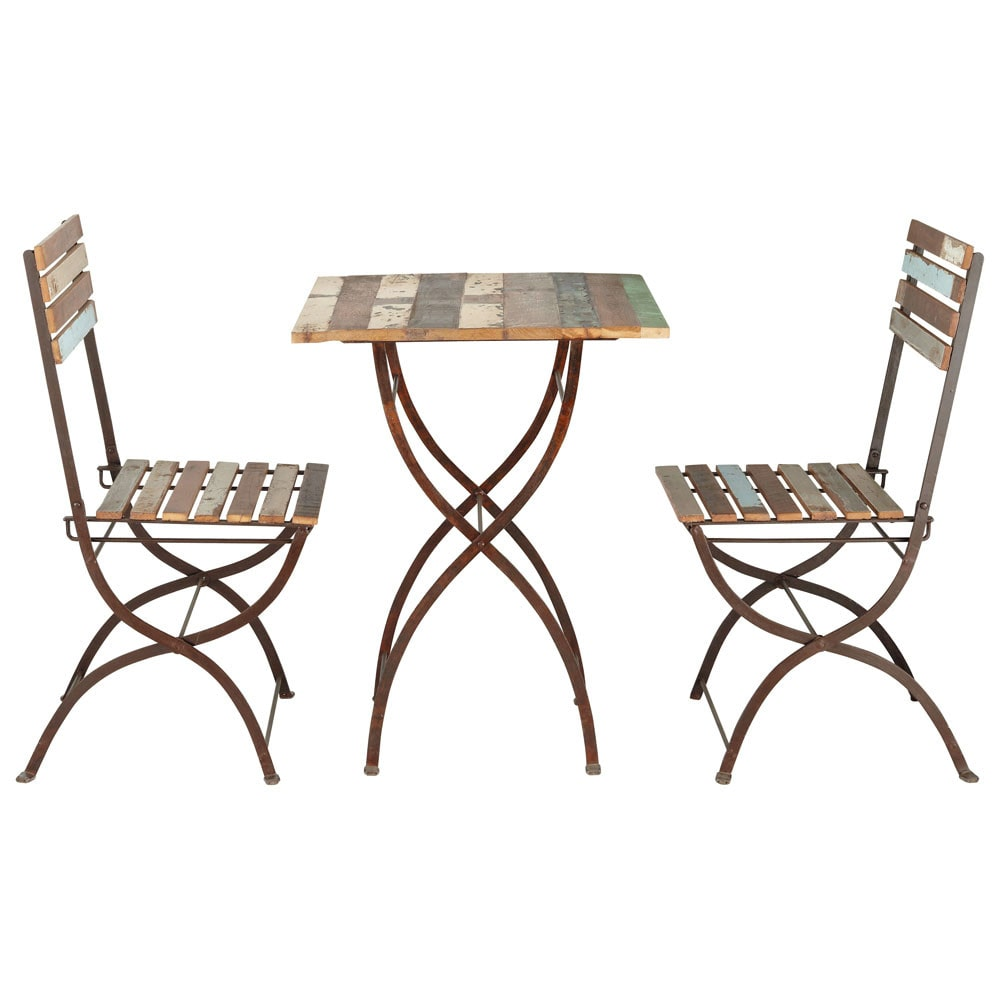 Recycled wood and metal garden table  2 chairs in
