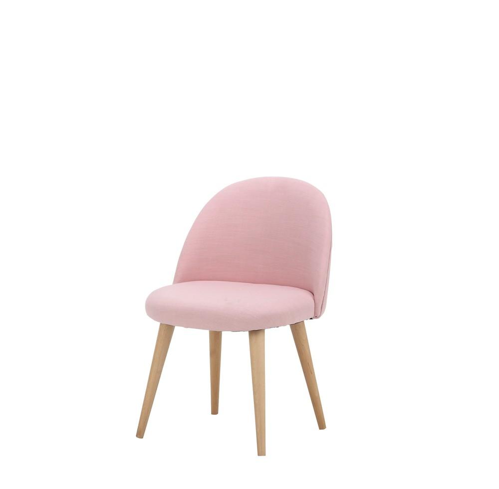 Roze stoffen en massief berkenhouten vintage stoel voor