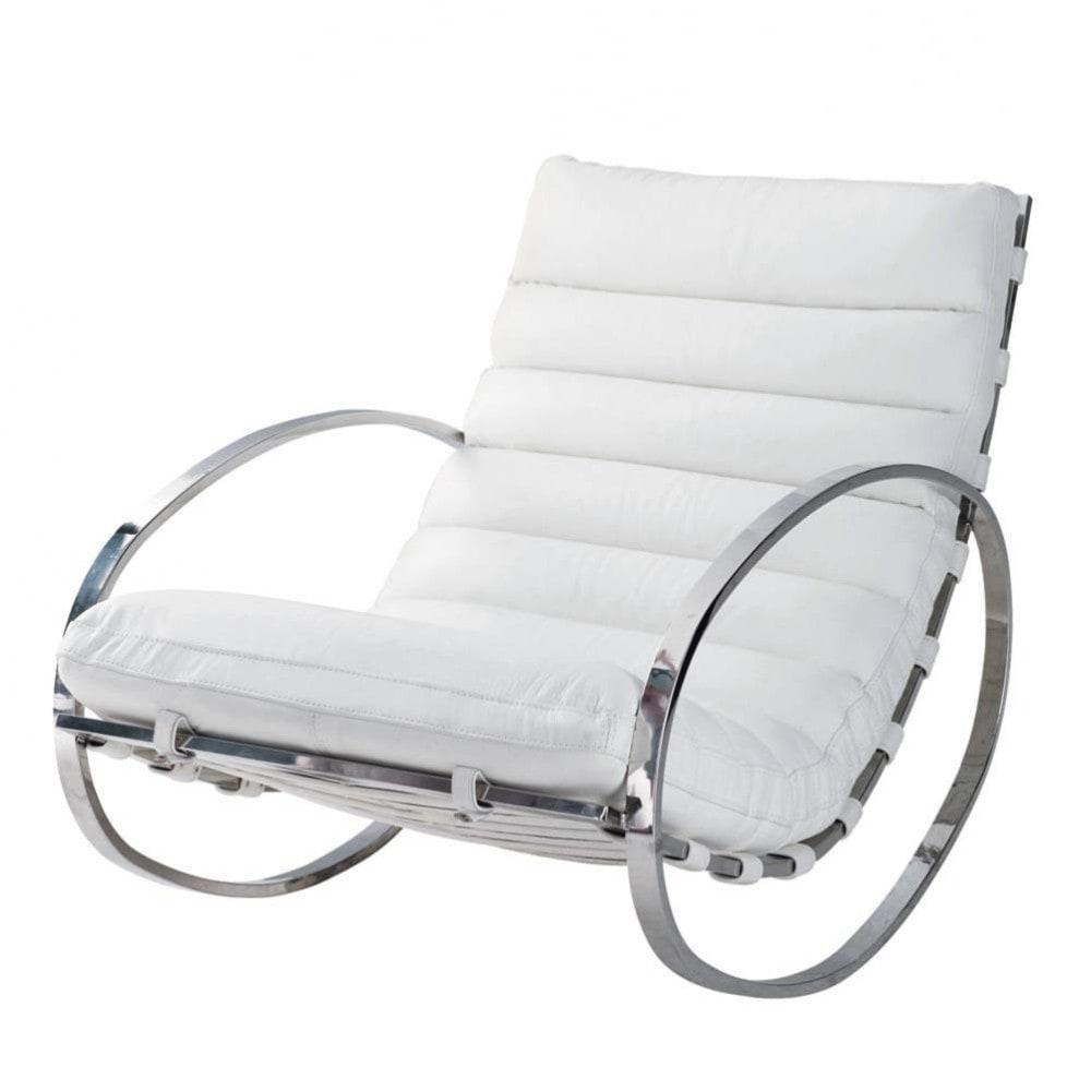 Sedia a dondolo bianca in cuoio Freud  Maisons du Monde