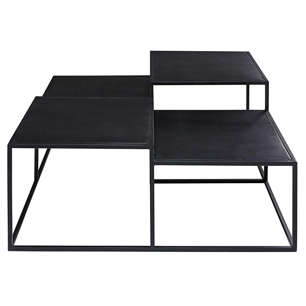 table basse plateaux en metal noir