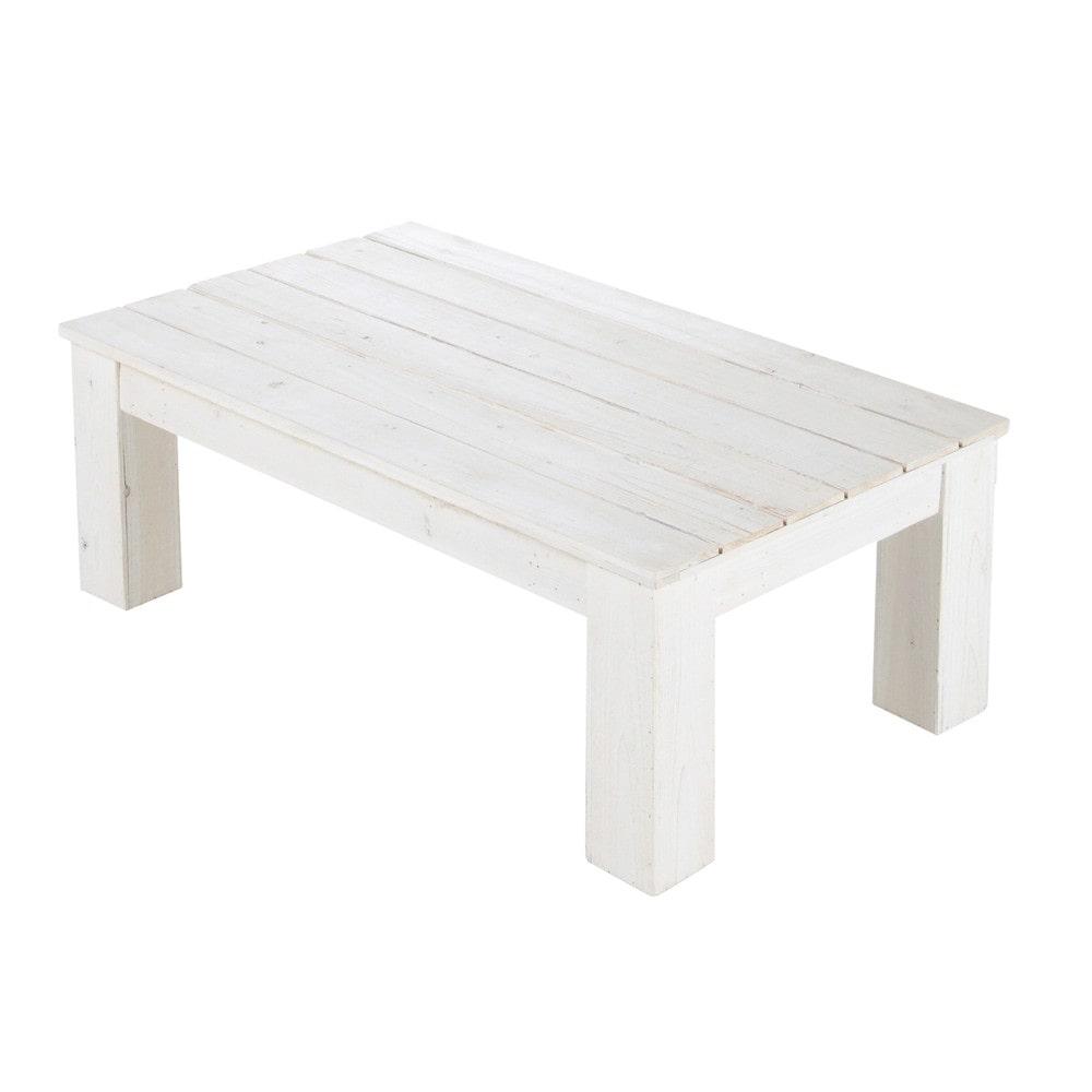 Table basse de jardin en bois blanche L 100 cm Faro  Maisons du Monde
