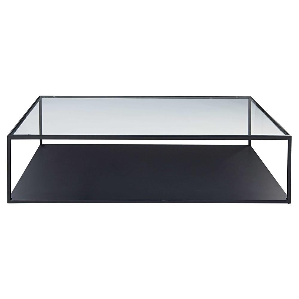 Table Basse En Metal Noir Et Verre Trempe