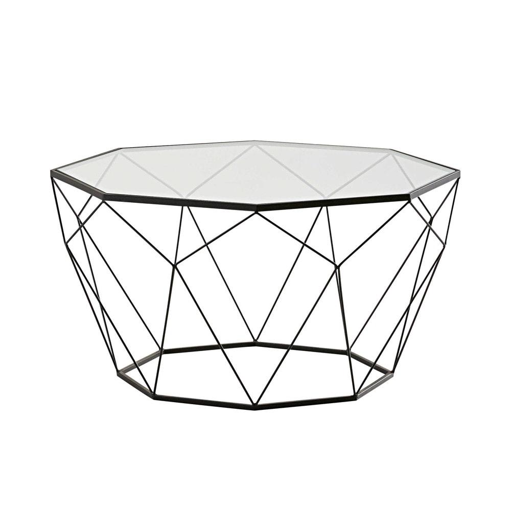 Table Basse En Verre Trempe Et Metal Noir