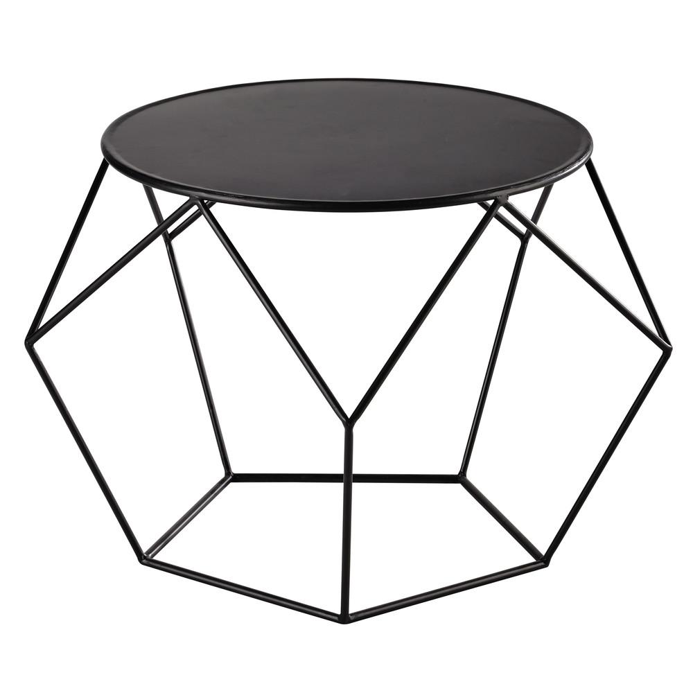 Table Basse Ronde En Metal Noire
