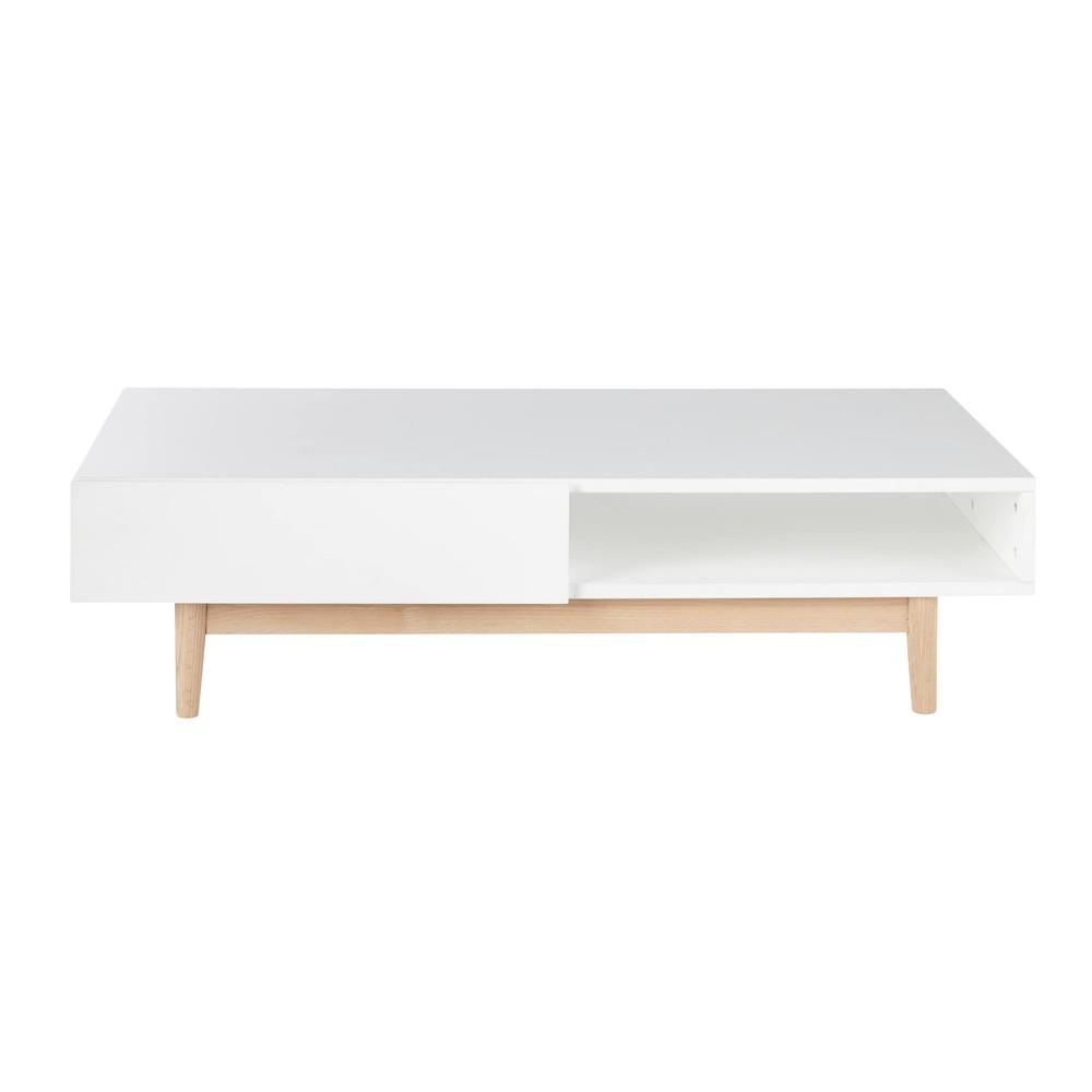 Table basse scandinave 2 tiroirs blanche Artic  Maisons du Monde