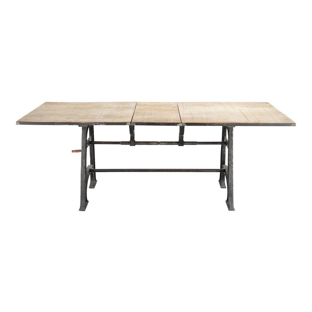 Table de salle  manger  rallonges en manguier massif et mtal L 180 cm Manivelle  Maisons du