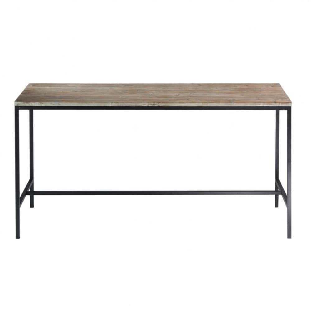 Table de salle  manger indus en bois massif et mtal L 210 cm Long Island  Maisons du Monde