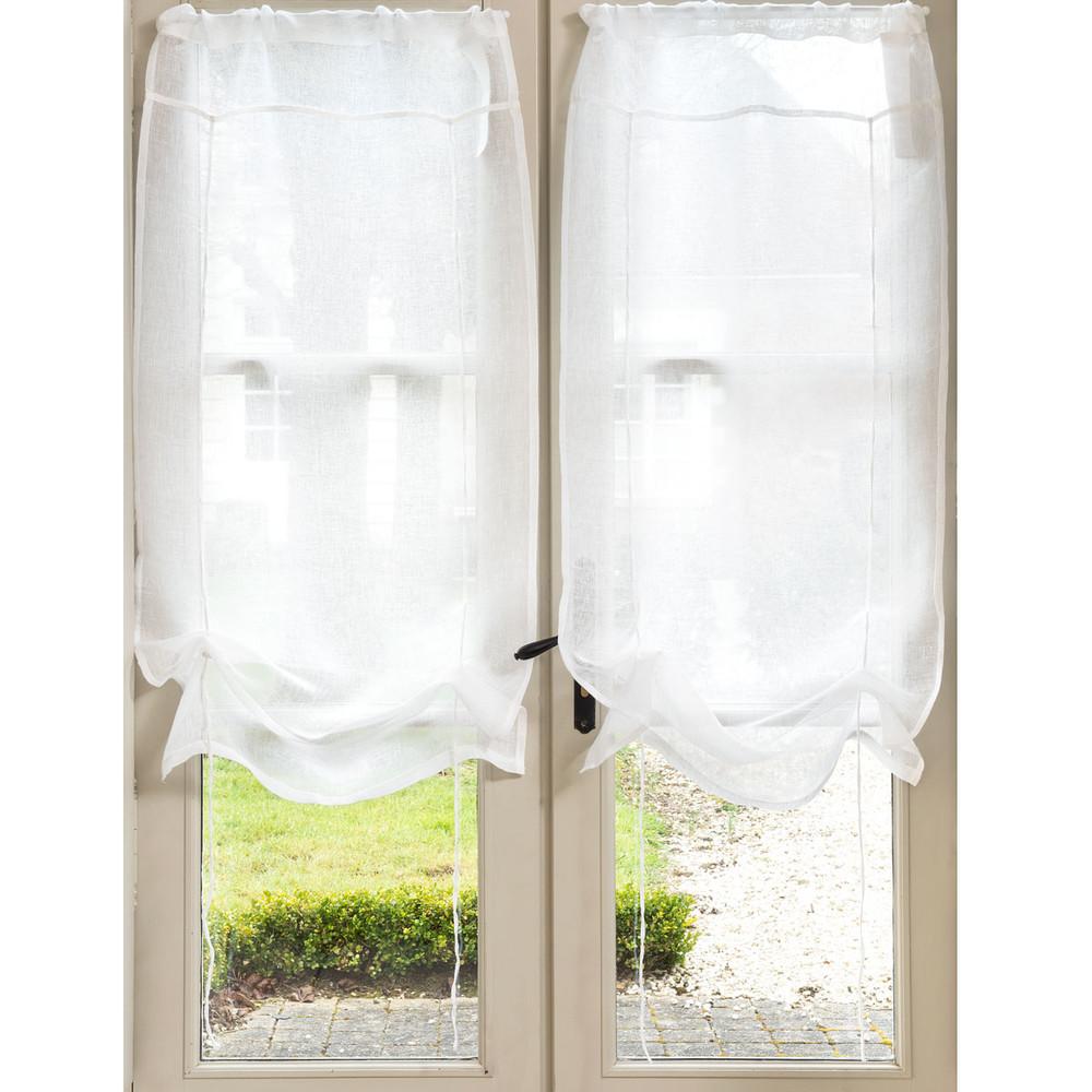 Tenda corta ecru in lino con laccetti 60 x 120 cm MARQUISE
