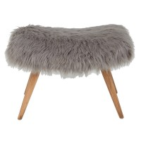 VILMA grey faux fur stool | Maisons du Monde