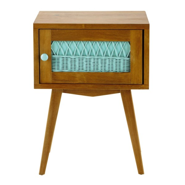 Wood and rattan vintage bedside table in sea green W 43cm ...