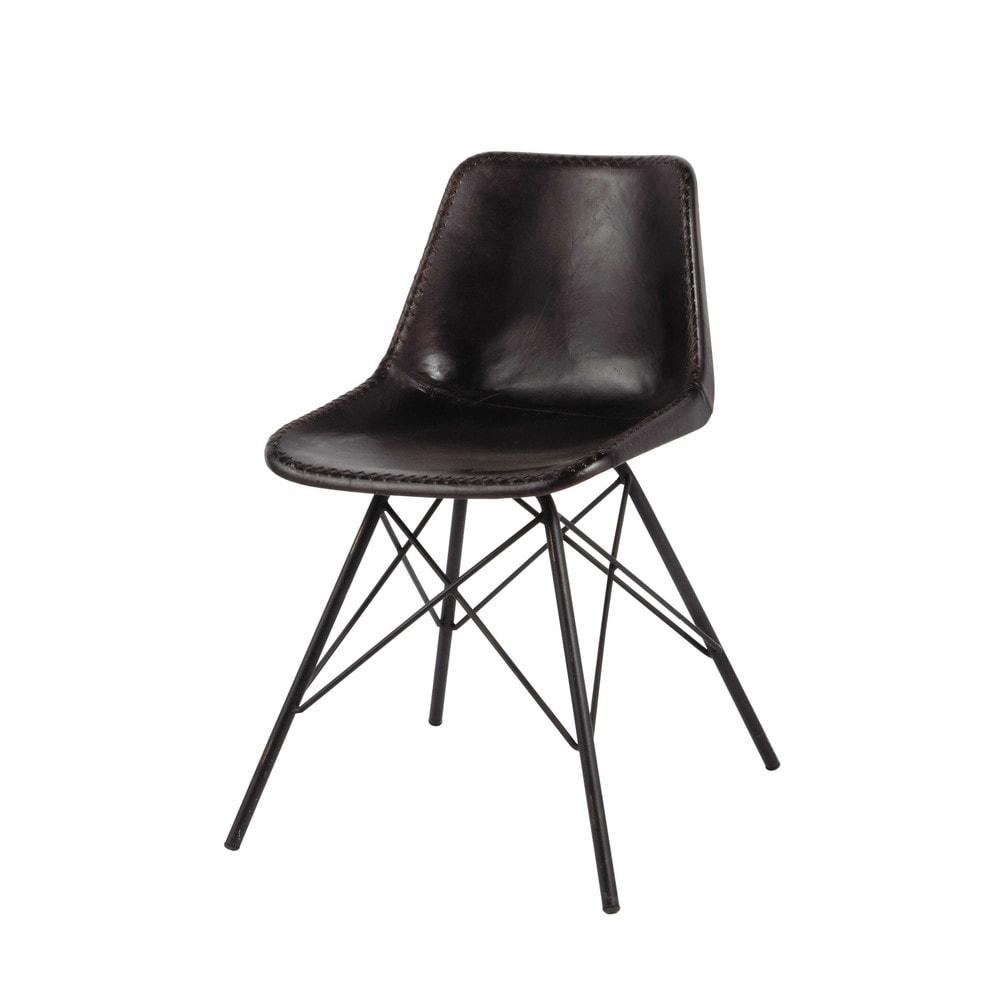 Zwarte metalen en leren industrile stoel Austerlitz