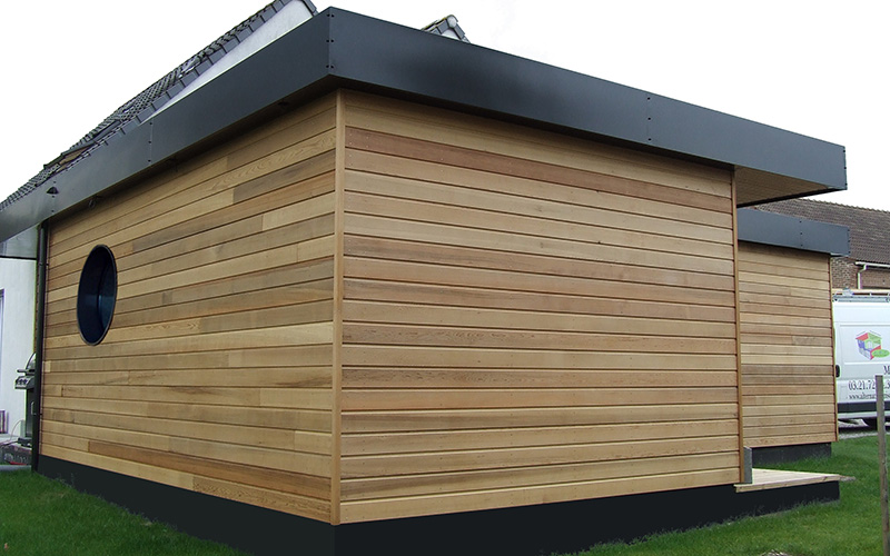 maison ossature bois red cedar toiture plate drouvin alternative bois concept. Black Bedroom Furniture Sets. Home Design Ideas