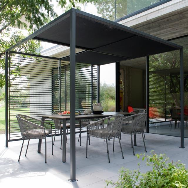 Pergola aluminium noir  maison parallele