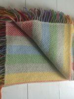 wool throw rainbow stripe