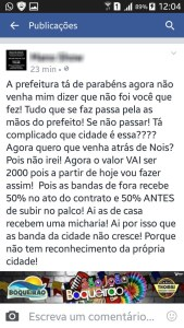 postagem Cantor revela suposto 'caixa 2' em evento de Prefeitura do Cariri