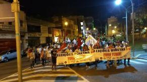 Manifestantes protestaram contra Temer (foto: Albemar Santos)