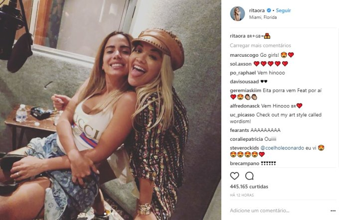 Anitta entra em estúdio com a cantora britânica Rita Ora