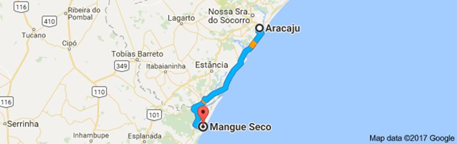 mapa-com-trajeto-Aracaju-Mangue-Seco Razões para conhecer Mangue Seco