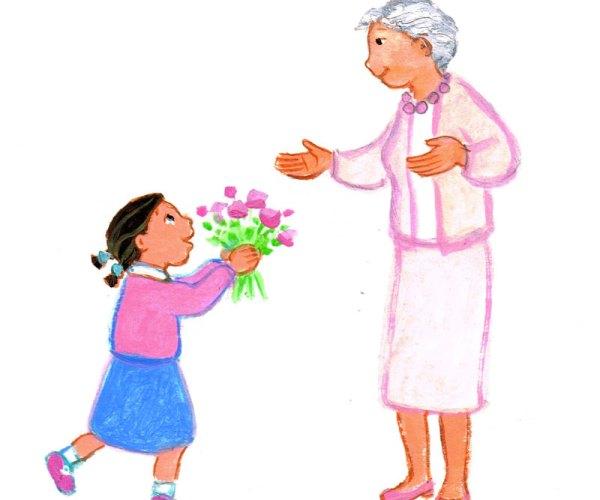 Des fleurs pour grand-mère, Premières Prières pour la Famille, Maïte Roche, Mame 2009