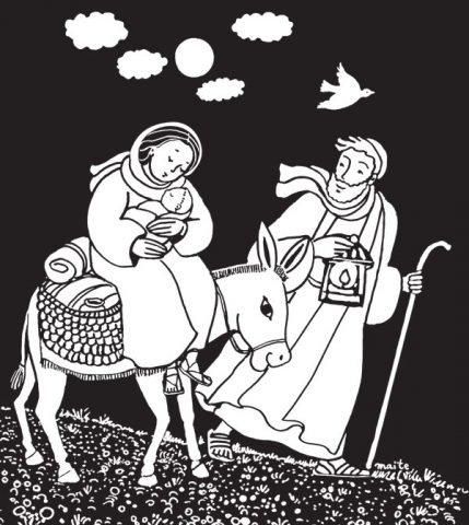La fuite en Égypte, Coloriages de Marie, Maïte Roche, Mame