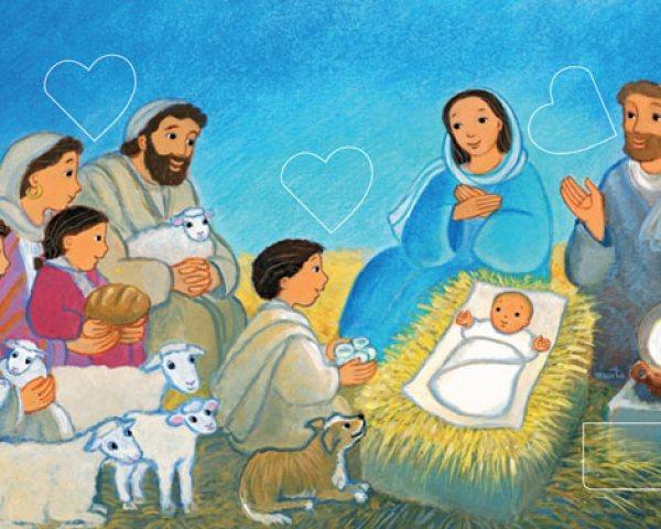 Dans l'étable, dans le Petit Berger de Noël, Maïte Roche, Mame