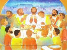 Le repas de Jésus, puzzle 16 pièces, Maïte Roche, Mame