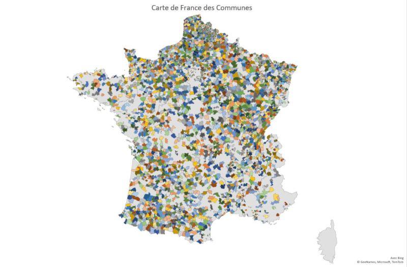 Excel 365 : Créer une carte Choroplèthe exemple carte des communes