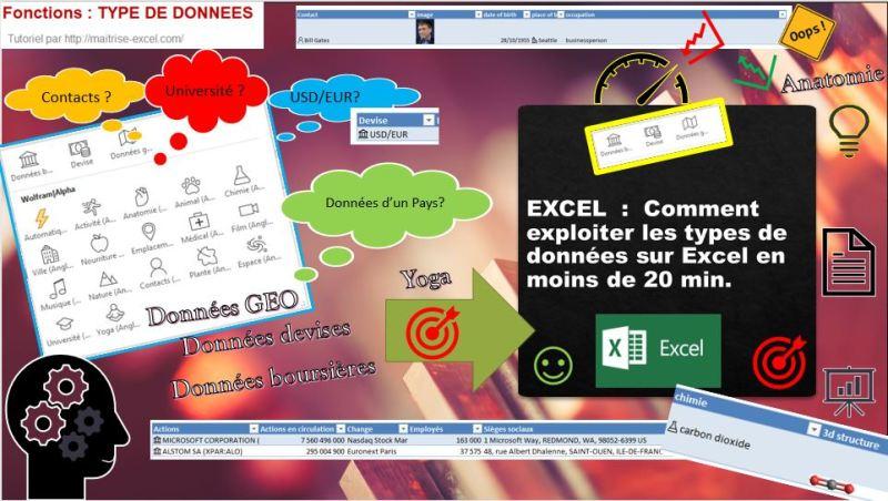 EXCEL  :  Comment exploiter les types de données sur Excel en moins de 20 min.