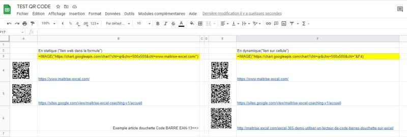 Excel 365 : Comment créer un QR Code sur Excel, les outils GOOGLE en moins de 5 min?