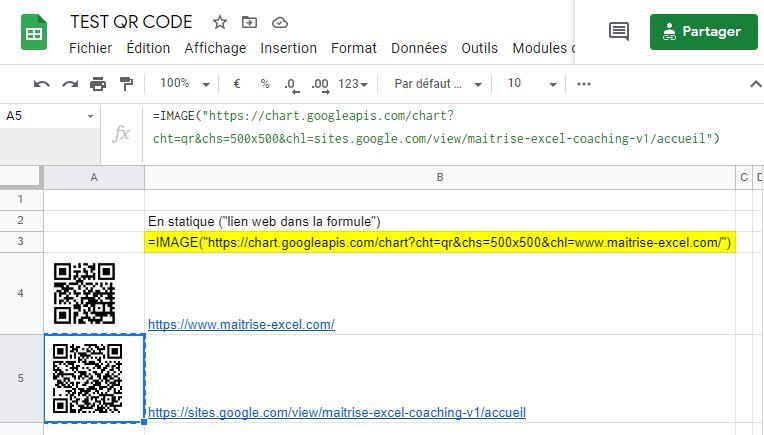 Exemple QR CODE GOOGLE SHEET :