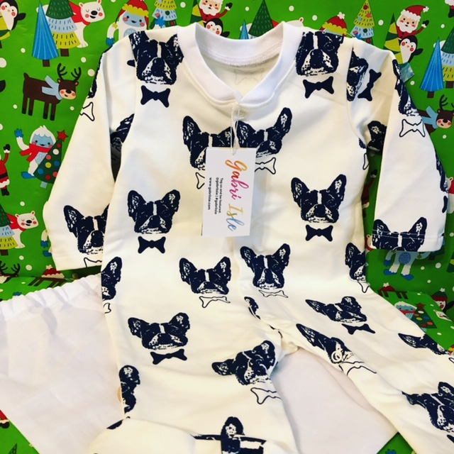 French Bulldog Bowtie Footed Onesie