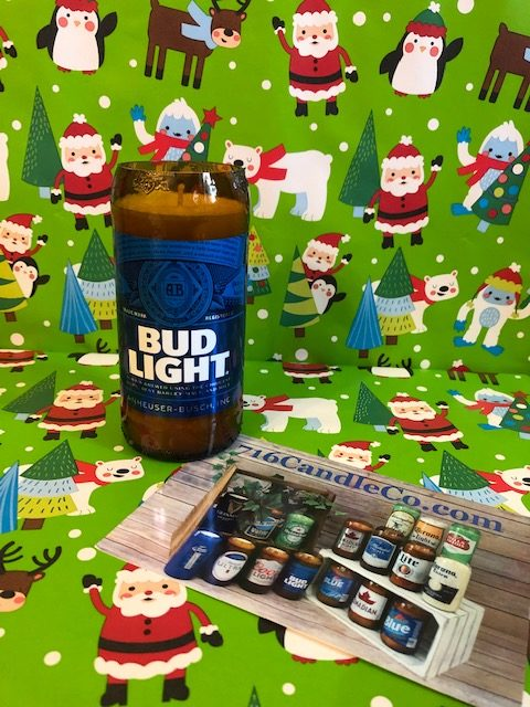 Bud Light Glass Beer Bottle Soy Wax Candle 716 Candle Co.