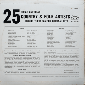 Majestic - 25 Country & Folk Artists - Back Cover