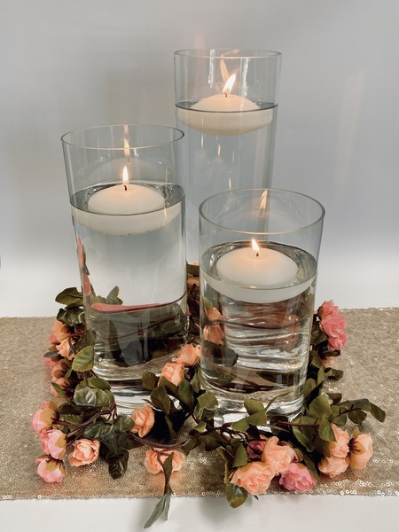 Trio of Cylinder Glass Vases Wedding Decorations Table Centrepiece