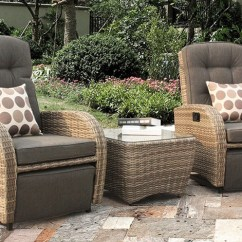 Outdoor Recliner Chairs Uk Chair Covers Decorations Majestique Rattan Reclining Garden Furniture Cappuccino Bistro Set