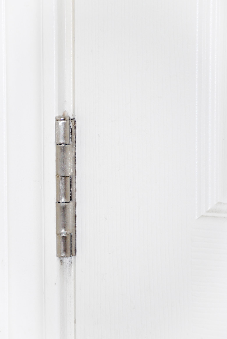 shiny brushed silver door hinge