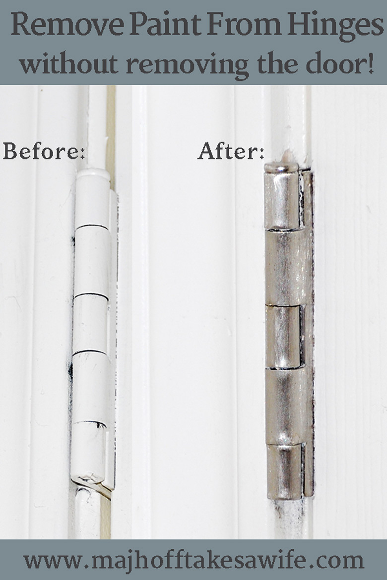 before and after pictures of a door hinge that has had paint removed