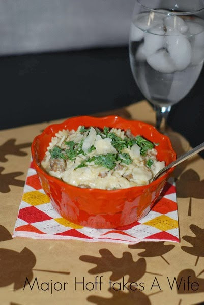 Sausage bowtie pasta dinner