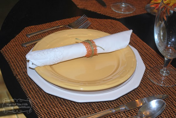 Deco mesh ribbon napkin ring