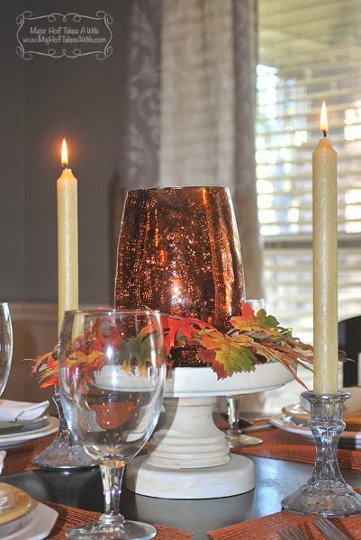 Leaf centerpiece  candlesticks