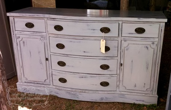 Painted buffet curved drawers