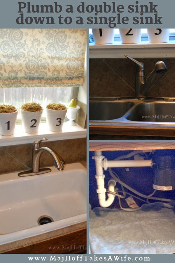 Highlighting how we changed out the sink from a stainless steel double sink to a single basin sink. It's easier than it looks. Check out the step by step detailed instructions on what you need to do even if there is a garbage disposal involved! Farmhouse sinks that feature a single drain will not intimidate you anymore! via @mrsmajorhoff