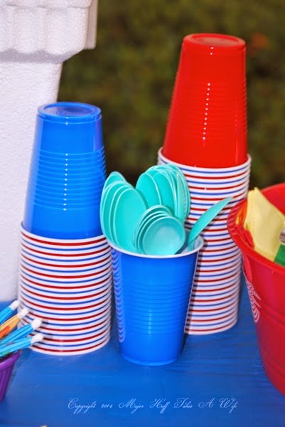 Stacked colored cups with amazing Bahama Bucks Color changing spoons