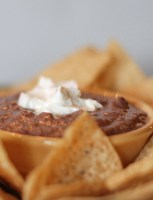 Black bean is an easy dip to serve warm at a party